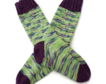 Socks - Hand Knit Women's Purple and Green Socks with Beads - Size 5-6