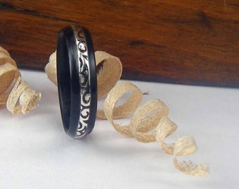 Bentwood Ring Ebony with thin Patterned Sterling Silver inlay