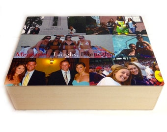 Personalized Collage photo box Best bridal shower gift, Wedding or graduation present or anniversary gift you pick the photo and font