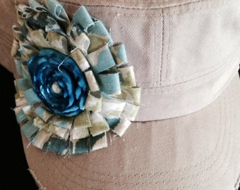 Military Cadet Hat Women's Hat Hand Made Floral Center