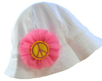Baby Sun Hat with Embroidered Peace Sign and Tulle Flower with Chin Strap