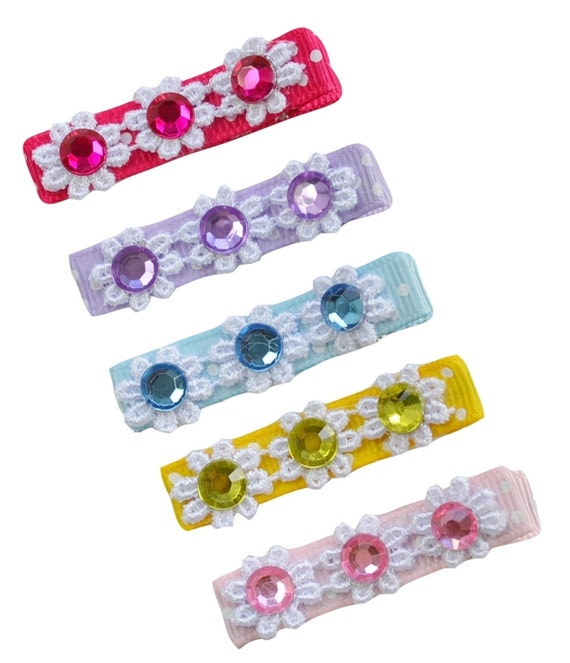 Girls Rhinestone and Jewel Hair Barrette Gift Set - 2 Sizes Available