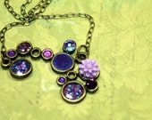Shades of Twilight Hues of Purple OOAK Funky Necklace Vintage Rhinestones