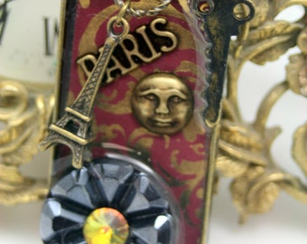Let's Go to Paris Collage Pendant Necklace Vintage Glass Button Assemblage OOAK