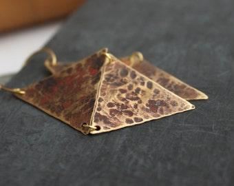 Brown Triangle Dangle Drop Earrings Textured Brass Geometric Diamond Rustic Rust Red Dark Purple Patina Boho Jewellery