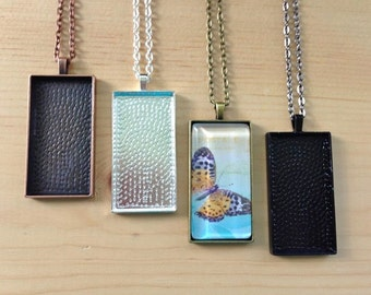 20 Rectangle Pendant Trays with Glass Tiles... Mix and Match Colors.... 24mm...x 48mm...RPT