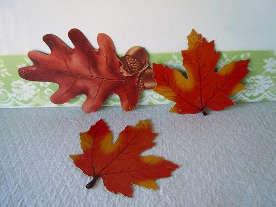 Vintage 1960s Halloween Decorations Leaves Leaf Diecut Orange Fall Harvest Autumn