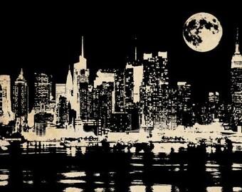 New York city at night png clip art  Digital Image Download printable art skyscraper buildings full moon