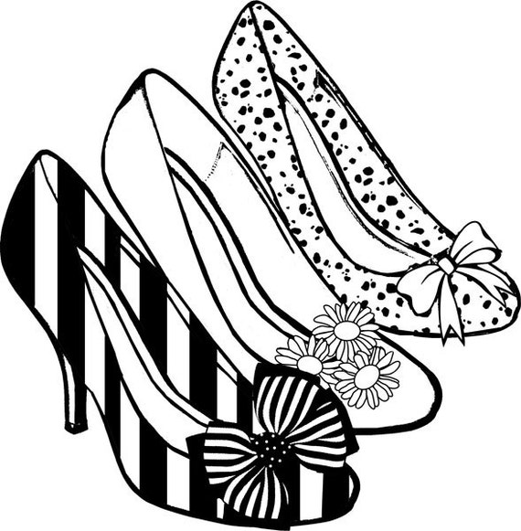 womens high heel shoes clipart png coloring page digital stamp graphics image download printables