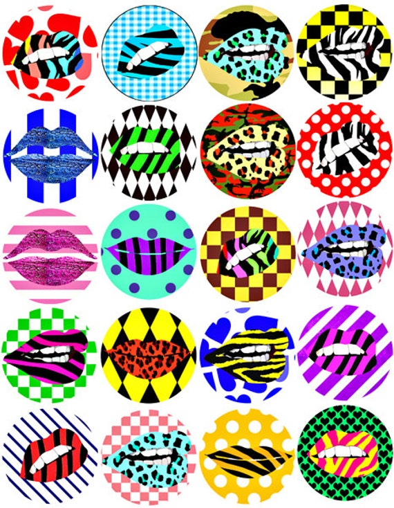 womans lips mouth animal print clip art  2 inch circles collage sheet digital image download graphics makeup beauty art printables stripes