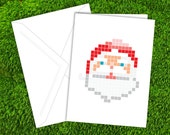 Holiday Cards | Santa Claus Pixel | Christmas Cards | Nerdy Cards | Pixels
