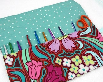 DESIGN your OWN crochet hook case, DPN needle case, makeup brush roll, travel roll-up organizer knitting needle storage case knitters gift