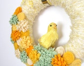 Yellow Spring Wreath, Chick Wreath, Felt Flower Wreath, Yarn Wreath, Small 10 inch size - Ready to Ship