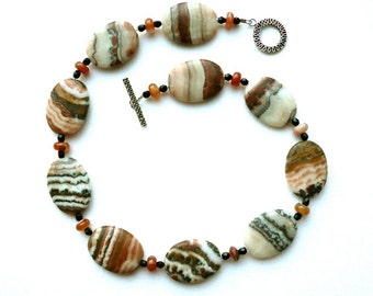 Safari -- Choker with Striped Zebra Stone, Black Yet and Carnelian