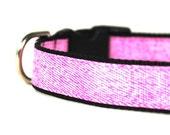 3/4 Inch Dog Collar Pink Denim MD