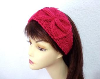 Handknit Headband with Bow Raspberry Earwarmer Fashion Hear Bands with Button