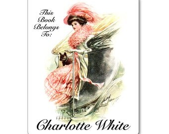 Personalized Bookplates - Vintage French Bulldog and Pretty Lady - Hostess Gift, Present for Best Friend