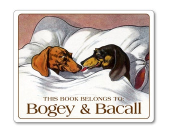 Kissing Dachshunds Pillowtalk Personalized Ex Libris Bookplates - DOG LOVER GIFT