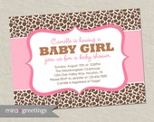 Giraffe Baby Shower Invitation - Giraffe animal pattern - pink baby girl shower invite (Printable Digital File OR Printed Cards)