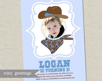 Cowboy Birthday Party Invitations - Vintage Cowboy Photo hat wanted Birthday Party Invite (Printable Digital File)