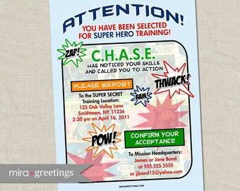 Superhero Birthday Party Invitation - super hero party invite - comic book (Printable Digital File)
