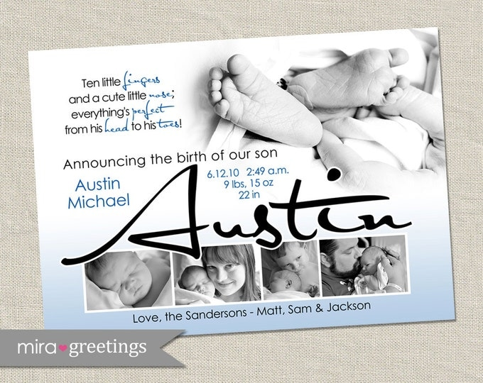 10 Little Fingers Birth Announcement - Printable Digital File