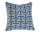 Blue White Graphic Pillow, Geometric Cushion Cover, Altered Greek Key Design, Marine Blue  White, Beach House Decor 18x18