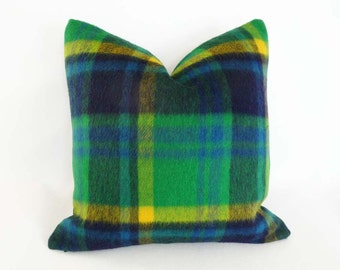 Green Blue Plaid Pillow Cover, Mohair Wool Pillow Cover, Country Plaid Throw Pillow, Lodge Cabin Decor, 18x18