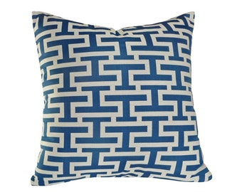 Blue Greek Key Pillow, Blue White Pillow Cover, Blue Geometric Pillow, Blue Graphic Pillow, Marine Blue White, Modern Home Decor 18x18, SALE