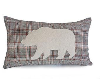 Bear Pillow Cover, Appliqued Bear Pillows, Wool Plaid Lumbar Pillow, Brown Cabin Pillow, Gift for Him, Boys Nursery Pillow 12x20
