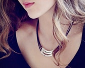 Sterling Leather Bib Necklace / Artisan Hammered Hill Tribe Silver / Chocolate Black Antiqued Leather / Statement Necklace / Layered