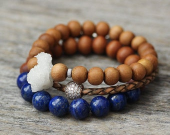 Lapis Lazuli Sandalwood Bracelet / Natural Lapis Night Sky Blue Beadwork Neutral Wood Brown Unisex Beach Sea Inspired Nautical Bracelet