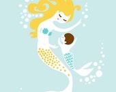 "5X7"" mermaid mother & baby boy giclee print on fine art paper. light blue, yellow, blonde, brown, brunette, redhead."
