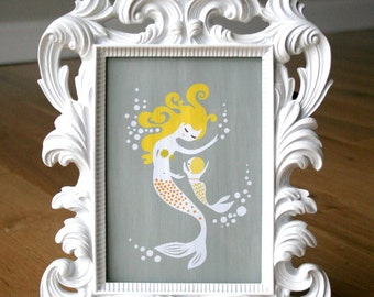 "8X10"" mermaid mother & baby girl giclee print on fine art paper. gray, pink, teal blue, brunette, texture background."