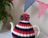 Traditional English Tea Cosy with bobble - 4 to 6 cup pot - red navy and cream