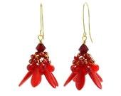 Red Bead Dangle Earring Kit, Beaded Bead Earring