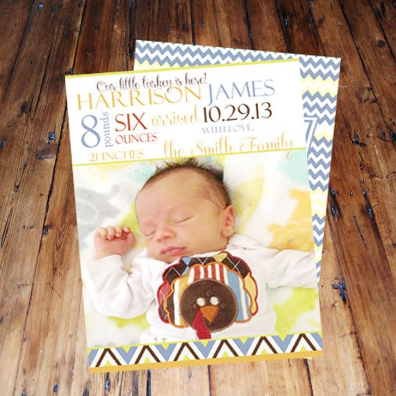 items similar to thanksgiving baby birth announcement boy