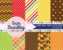 50% OFF SALE Thanksgiving Digital Paper Pack Personal & Commercial Use Red Orange Yellow and Green Polka Dots Chevron Stripes and Plaid