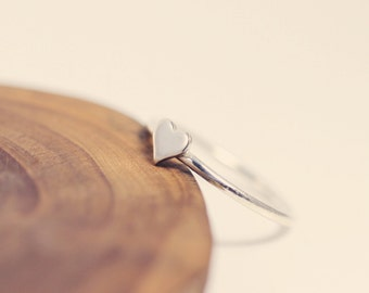 Silver heart ring - Heart stacking ring - Sterling silver stacking ring  - dainty - tiny- etsymetal team