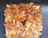 Gold Black Wheat Berry Fall Wreath, Thanksgiving Wreath, Dried Floral Wreath, Fall Decor, 2 left - ElegantWreath