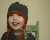 The Canadian - Custom knit earflap hat, newborn to 4T, choose size and colours