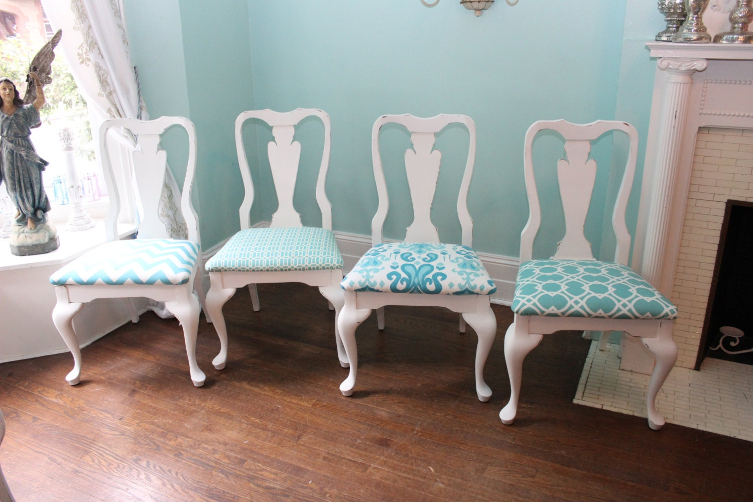 4 vintage dining chairs shabby chic beach cottage coastal