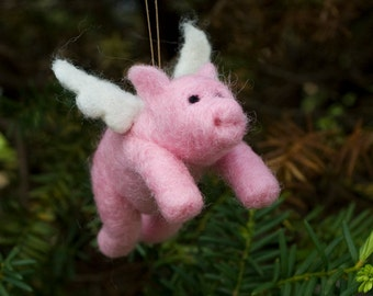 Needle Felted Pigasus Ornament - Flying Pig