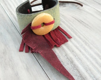 Leather Cuff Bracelet, Wide, Adjustable, Eco Friendly, Cuff with Suede Feather and Fringe, Stone and Leather Bracelet