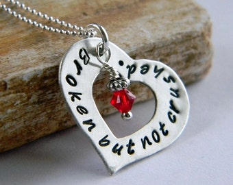 Heart Washer Necklace, Broken but not crushed, Valentines Day, Sterling Silver Handstamped Heart, by RosesDesigns
