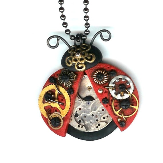 Steampunk Red Lucky Ladybug Necklace Polymer Clay Jewelry
