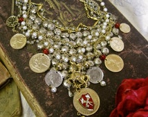 Someday My Prince Will Come: Wedding Choker HUGE STATEMENT Fairy Tale Bride Cinderella Vintage Assemblage Silver Gold Coins Crest Knight