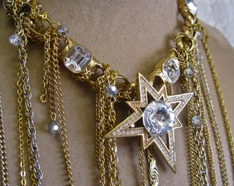 Atomic Night: Waterfall Necklace Modernist Waist Long Chain Fringe Choker Vintage Assemblage Monet Heavy Chain Rhinestone Starburst Glam