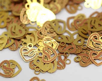 50 Raw Brass Hearts Charms6mm
