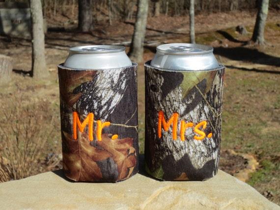 Mossy Oak camo wedding koozies.  Custom monogrammed Mr. and Mrs. koozies.